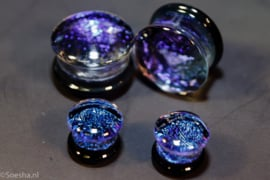 Glass fused dichroic double flare plug (pair)