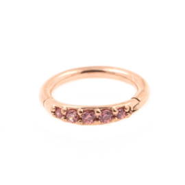 Steel Click Ring Rose Gold With Pink Zirconia