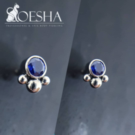 Titanium threaded end with gem and 3 beads