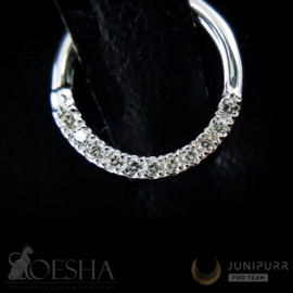 White Gold Seam Ring With High Quality Cubic Zirconia Gems
