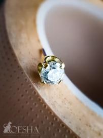 Threadless Yellow Gold Prong Set High Quality Cubic Zirconia Gem