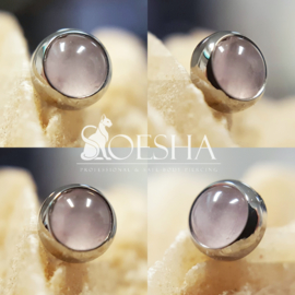 Titanium threaded cabochon gem end Rose Quartz