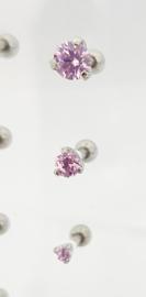 Helix barbell met steentje Pink