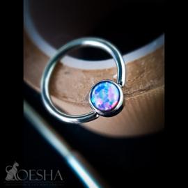 Bezel Set Synthetic Opal Captive Bead