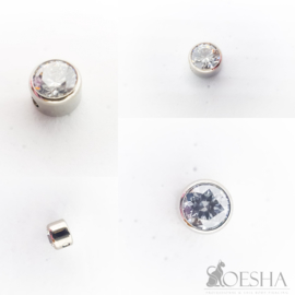 Titanium Captive Gem Bead Faceted Swarovski Zirconia