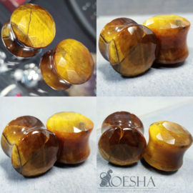 Tiger's eye faceted plug (pair)