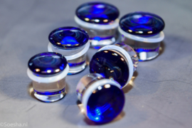Cobalt Blue glass colorfront single flare plugs (pair)