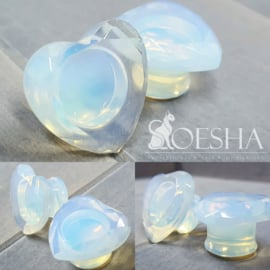 Opalite Faceted Heart Plugs (Pair)