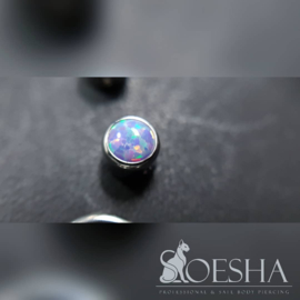 Bezel Set Synthetic Opal Captive Bead