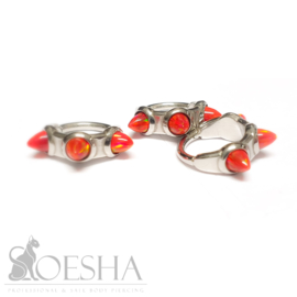 Steel Click Ring With Red Opal Spikes