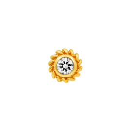 Yellow Gold Threadless Braided CZ Bezel-Set Gem