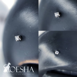 Titanium threaded 3 prong-set round faceted gem