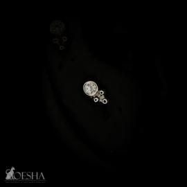 Bezel-Set Tri Bead With Cubic Zirconia