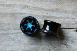 Imperial Double Flare Plugs In Dichroic Blue (Pair)