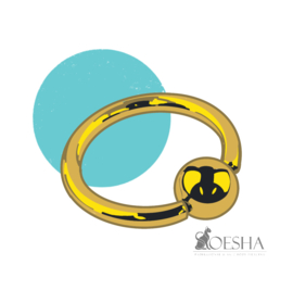 Titanium Ball Closure Ring Anodised Gold