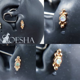 Solid rose gold two point Sabrina threaded end with faceted synthetic opal