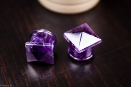 Amethyst Stud Plugs (Pair)