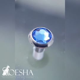 Jewelled Flat disc dermal attachment Sapphire Blue