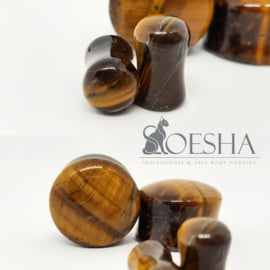 Diablo Organics Tiger's Eye Double Flare Plugs (pair)