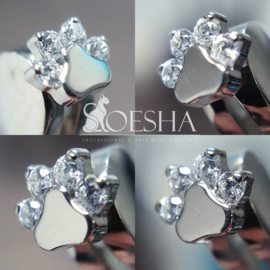 Threaded Faceted Paw Print End White Cubic Zirkonia