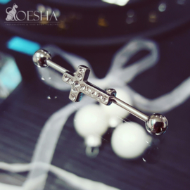 Steel industrial Barbell with jewelled cross