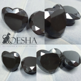 Black obsidian faceted hearts (pair)