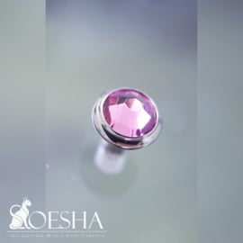 Jewelled Flat disc dermal attachment Rose