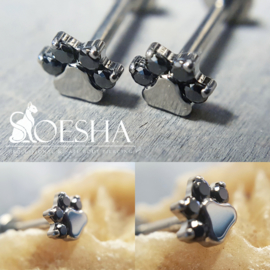 Threaded Faceted Paw Print End Black Cubic Zirkonia
