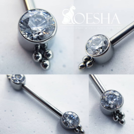 Nipple Barbell With Faceted Zirconia And Bead Design