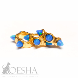 Gold Steel Click Ring With Blue Opal Spikes