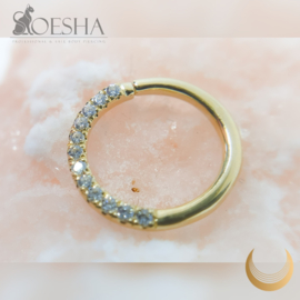 Yellow Gold Seam Ring With High Quality Cubic Zirconia Gems