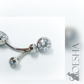 Double Jewelled Curved Barbell Crystal Clear