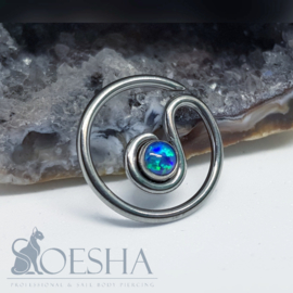 Niobium Daith Spiral With Synthetic Opal