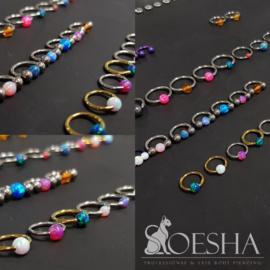 Opal captive bead ball (BCRing attachment) Reddish Black