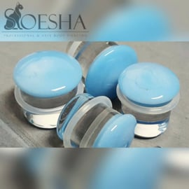 Glass colour front plugs in Skyblue (pair)