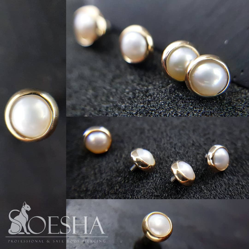Genuine yellow gold 3mm cabochon bezel super flat pearl
