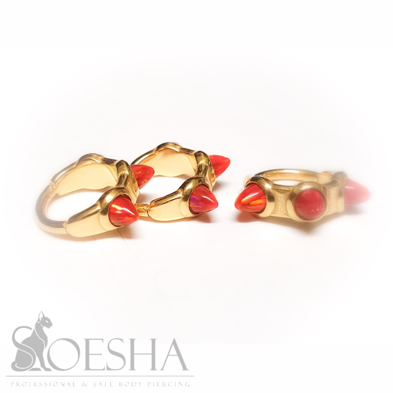 Gold Steel Click Ring With Synthetic Red Opal Spikes