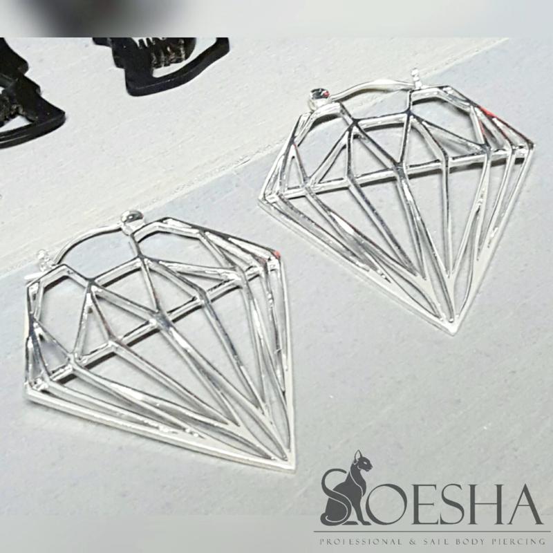 Silver Plated Diamond Silhouette Earrings (pair)