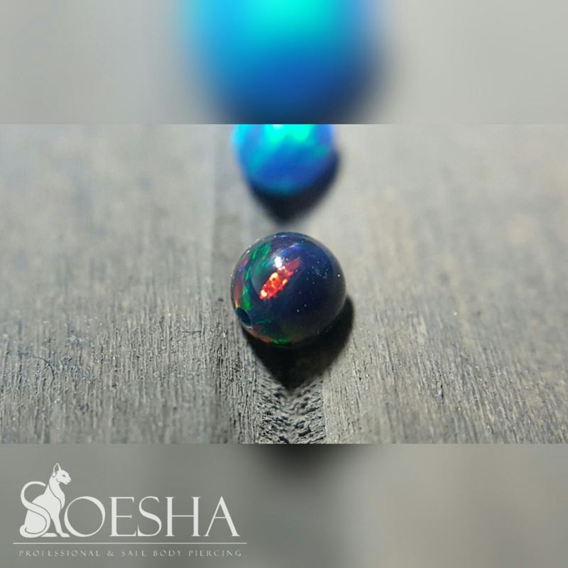 Opal Captive Bead Reddish Black