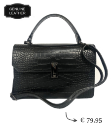 Croco leather women's shoulder business bag - Black