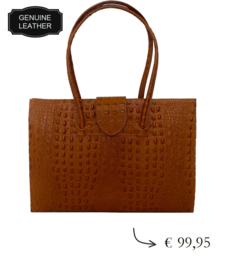 Large croco leather women's business bag dividers ~ cognac