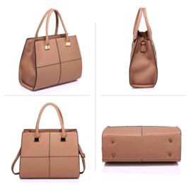 Dames handtas met schouderriem ~ beige, nude