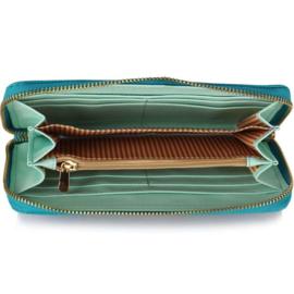Grote dames portemonnee met rits en polsbandje - zeegroen