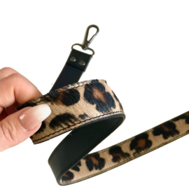 Schouderband, schouderriem tas los - leer - haar, vacht - panter