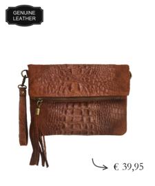 Leather croco details shoulder bag ~ brown