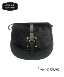 TOUTESTBELLE - Leather crossbody shoulder bag hair - Black