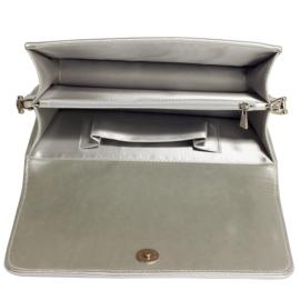 Metallic crossbody uitgaanstasje flap opbergvakken ~ zilver