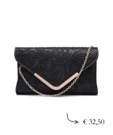 Envelope clutch lace - black