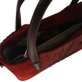 Suede leren tas met schouderriem croco mat - Bordeaux rood