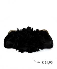 Clutch bloem satijn ~ zwart
